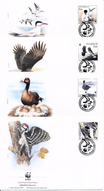 [53607] Sweden 1994 Birds Vögel Oiseaux Ucelli WWF FDC 4 covers