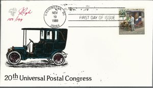 Beautiful Pugh Painted Classic Mail Automobile FDC -only 199 created...