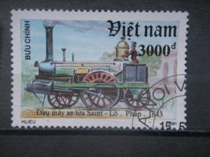 NORTH VIETNAM, 1991, CTO 3000d, Locomotives Scott 2272