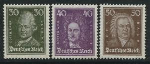 Germany 1926 Famous People 30pf Lessing, 40pf Leibnitz, 50pf Bach all mint NH
