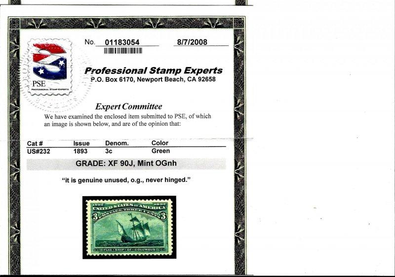 232 Mint,OG,NH... PSE graded 90J  XF Jumbo... SMQ $375.00
