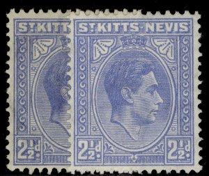 ST KITTS-NEVIS GV SG72 + 72a, 2½d SHADE VARIEITES, M MINT. Cat £11.
