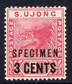 Malaya - Sungei Ujong 1894 3c on 5c Tiger overprinted SPE...