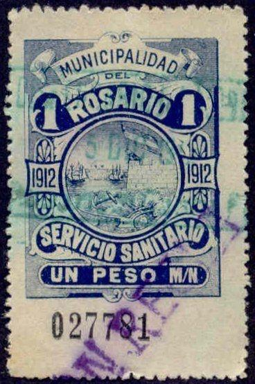 Rosario Argentina 1912 1P Hooker Tax Stamp w/ purple Con Regla & green cancel