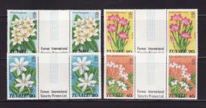 Tuvalu 92-95 Gutter Pairs Set MNH Flowers (B)