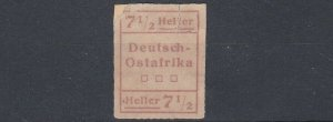 GERMAN EAST AFRICA  1916  WUGA LOCAL 7 1/2H UNISSUED NO GUM HAS BEEN REPAIRED