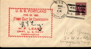 USS PORTLAND Heavy Cruiser CA-33 1933 First Day Commission Cachet Naval Cover F