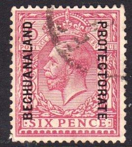 1913 - 1924 British Bechuanaland KGV 6 pence used Sc# 90 CV $27.50