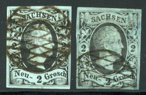 GERMANY STATES SAXONY SCOTT# 6 MICHEL# 5 USED LOT OF 2 AS SHOWN