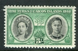 TURKS CAICOS ISLANDS; 1948 early GVI issue fine Mint hinged 5s. value