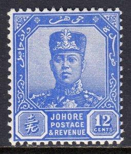 MALAYA (JOHORE) — SCOTT 111A (SG 114) — 1940 12c SULTAN IBRAHIM — MH — SCV $47