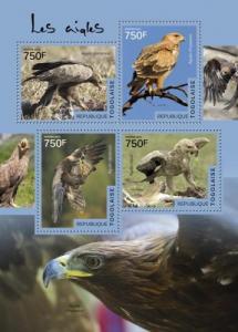 TOGO 2014 SHEET EAGLES BIRDS OF PREY tg14509a