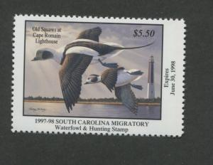 SOUTH CAROLINA #17 1997 STATE DUCK STAMP OLD SQUAWS/LIGHTHOUSE by Rodney Huckaby