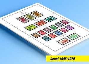 COLOR PRINTED ISRAEL 1948-1970 STAMP ALBUM PAGES (53 illustrated pages)