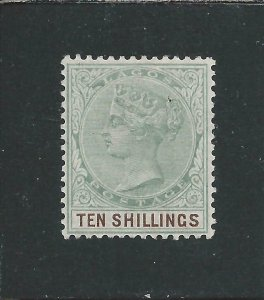 LAGOS 1887-1902 10s GREEN & BROWN VLMM SG 41 CAT £120