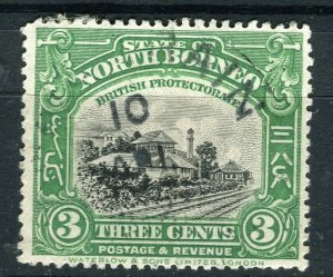 NORTH BORNEO; 1920s early pictorial issue fine used 3c. value Postmark
