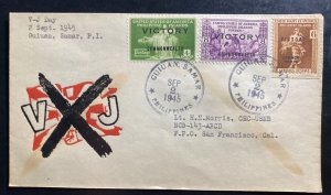 1945 Manila Philippines First Day Cover FDC To San Francisco CA USA V-J Day