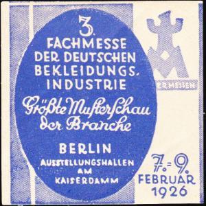 Germany  Berlin Garment Industry Trade Fair Label Unused with crease.