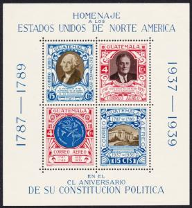 Guatemala 150th Anniversary of US Constitution MS MH SG#MS367b SC#C92 CV£8.75