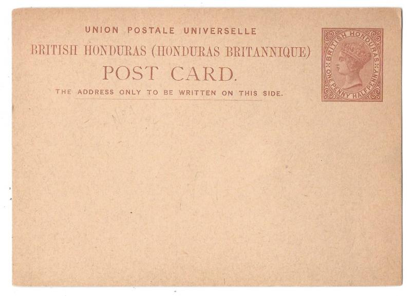 British Honduras Postal Stationery Card QV 1 1/2 penny HG 1 1879