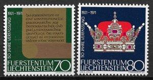 1971 Liechtenstein 489-90 Constitution 50th Anniversary MNH C/S of 2