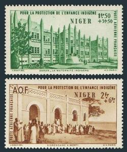 Niger CB1-CB2,hinged.Michel 107-108. Native children's welfare fund,1942.