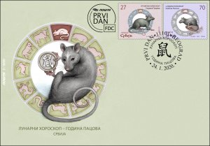Serbia 2020 China Chine New Year Rat Rats Animals Fauna Mammals Rodents FDC