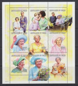 Chad Sc 909-910 MNH. 2001 British Royalty, Queen Mother & Prince William, cplt