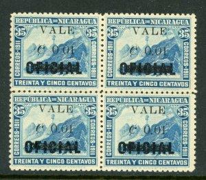 Nicaragua 1914 Liberty Overprint 1¢/35¢ MNH Block H352