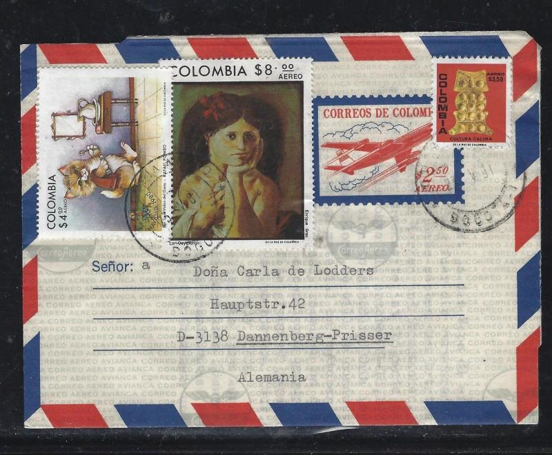 COLOMBIA  (PP0308B) 2.50 AIRPLANE AEROGRAMME URATED  4.00+8.00+3.50 TO GERMANY