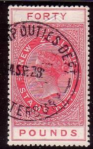 NEW ZEALAND 1880 LONG TYPE STAMP DUTY £40 used.............................31895