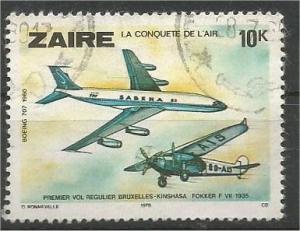 ZAIRE, 1978, used 10k Aviation, Scott 898