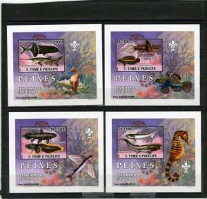 ST.THOMAS & PRINCE 2007 FISH SET OF 4 DELUXE S/S MNH