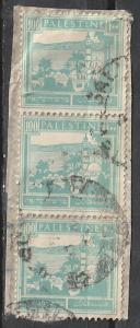#80 Palestine used strip of 3 on paper