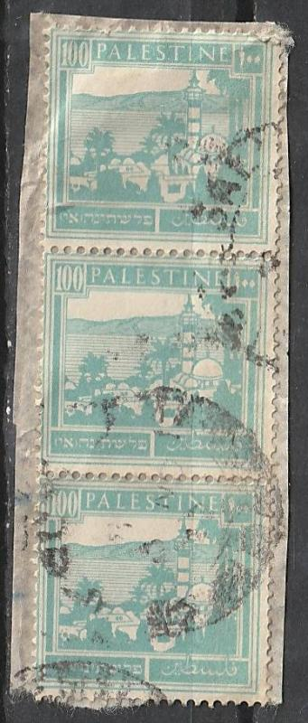 #80 Palestine used strip of 3 on paper