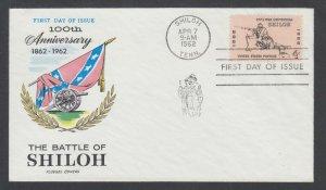 US Planty 1179-25 FDC. 1962 4c Battle of Shiloh, Fluegel cachet, unaddressed