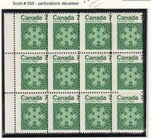CANADA # 555 7cts CHRISTMAS BLOCK OF 12 MISPERFED CAT VALUE $120