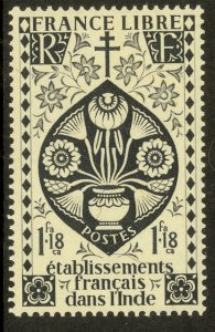 FRENCH INDIA 1942 1fa18ca LOTUS FLOWER Issue Scott No. 151 MLH