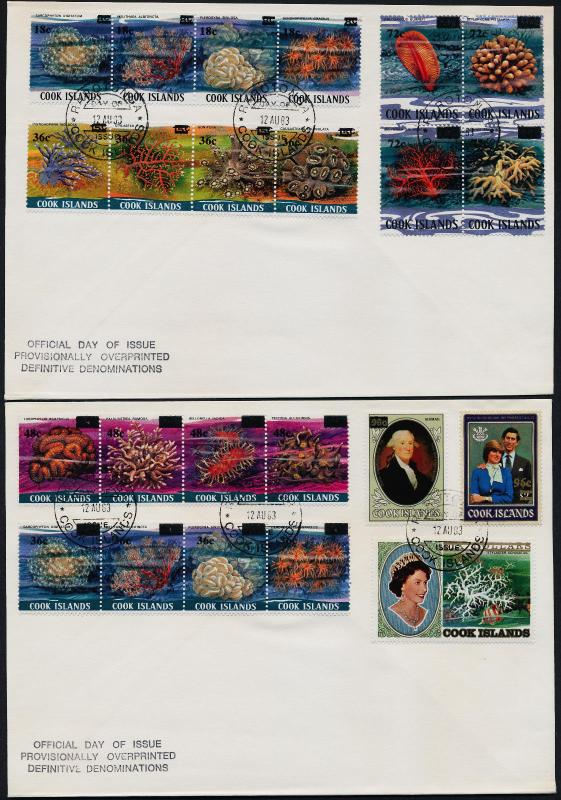 Cook Islands 710-6, 738-40, C23 on FDC's - Coral, Princess Diana, Washington