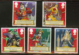 Great Britain Scott 1458-1462 MNH** 1992 Gilbert&Sullivan set