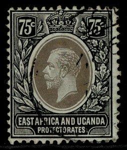 EAST AFRICA and UGANDA GV SG52b, 75c blue-green-olive, FINE USED.