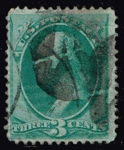US STAMP #136 1870-71 3¢ Washington SPLIT GRILL USED STAMP