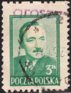 Poland 1948 3z Green with Groszy Revaluation Overprint of Posnan Used