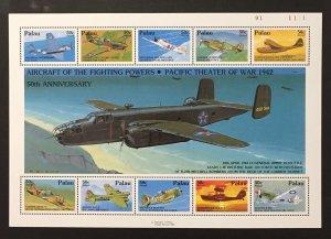 Palau 1992 #C22 S/S, WW II Aircraft, MNH.