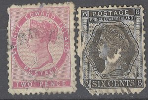 COLLECTION LOT # 2299 PRINCE EDWARD ISLAND 2 FAULTY STAMPS 1862+ CV+$26