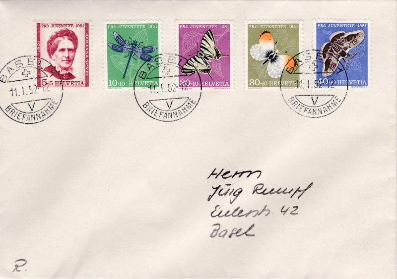Switzerland 1951 Pro Juventute set complete on Cover. Local use