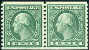 1914 US Stamp #452 A140 1c Mint Never Hinged Coil Pair Catalogue Value $83