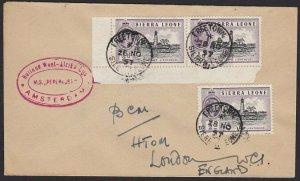 SIERRA LEONE 1957 Ship cover - MS Peperkust - Freetown cds..................H334