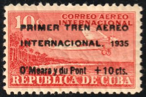 1935 Cuba Stamps Airplane First international AirTrain Surcharged MNH