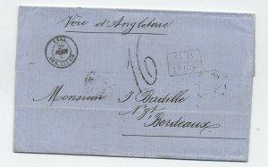 1865 Port au Prince to France transatlantic stampless [H.550]